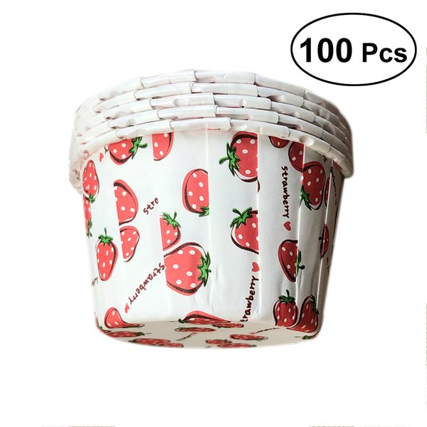 100pcs Cupcake Wrappers Muffin Liners Star Dot Strawberry Pattern Baking Cups Cupcake Cases for Baby Shower Birthday 68x68x39cm