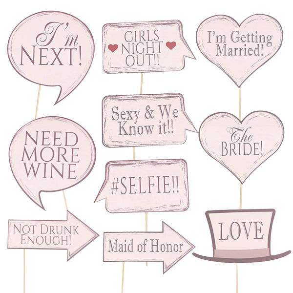 10pcs/Pack Team Bridal Shower Team Bride to be Photo Booth Props Girls Night Out Wedding Bachelorette Party Favors Decoration Event Supplies