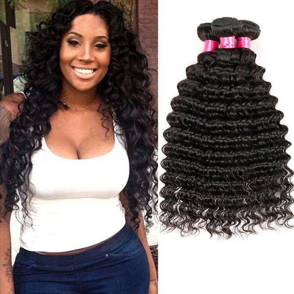 Brazilian Hair Deep Wave 3 Bundles 100% Unprocessed Virgin Brazilian Deep Curly Human Hair Weave Bundles Natural Color Total 300g
