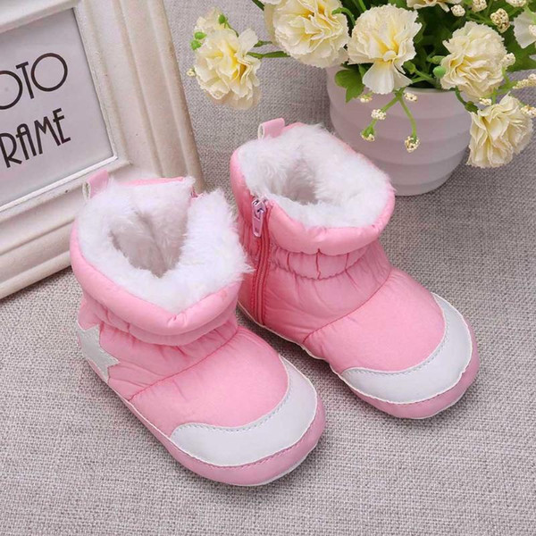 top popular Unisex Baby Infant Winter First Walkers Snow Boots Fleece Warm Shoes For Infant Soft Sole Star Baby Shoes For Boys Girl 2019