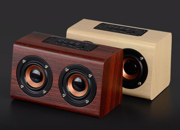W7 Retro Wooden HIFI 3D Dual Loudspeakers Bluetooth Wireless Portable Speaker Wholesale 10W With Hands-free TF Card AUX IN for phones