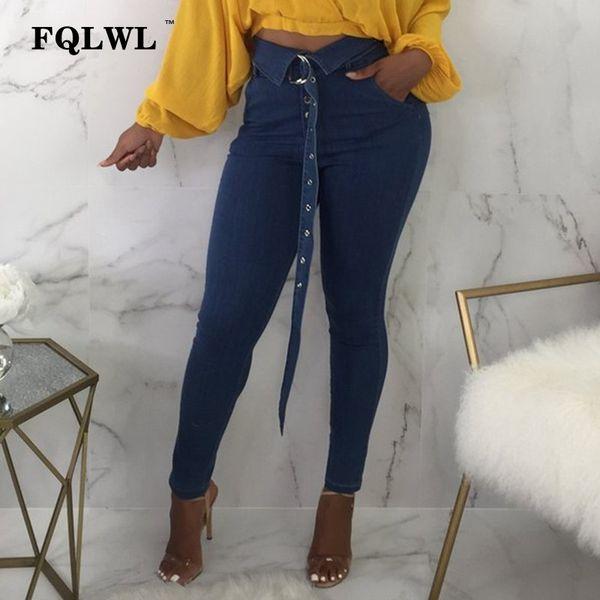 FQLWL Jeans aderenti a vita alta Donna 2018 Plus Size Denim Blet per jeans Bottoni automatici Pantaloni donna autunno Pantaloni sexy