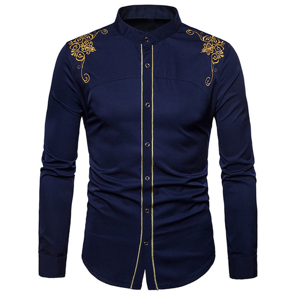 Feitong Men Shirts Mens Hipster Fit Long Sleeve Button Embroidery Down Dress Shirts Tops Blouse 2018 Fashion Men's Shirt