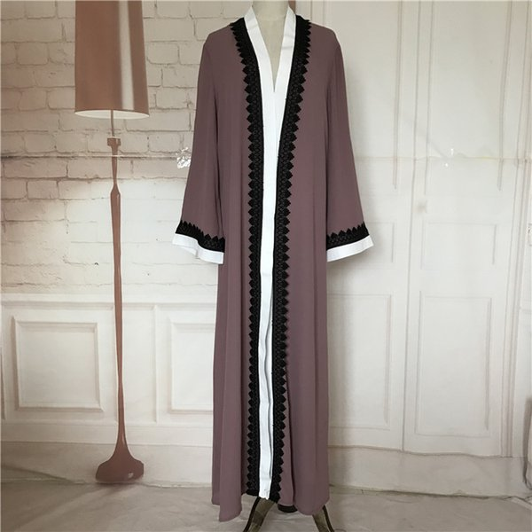 Mulheres muçulmanas Abrir Frente Cardigan Kaftan Islâmico Dubai Longo Vestido Maxi Árabe Robe