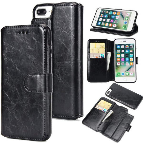 Detachable Combo Wallet Clutch Flip Gloss Leather Holster Case Car Mount Removable Phone Cover Stent Bracket Shell for iPhone X 7 Samsung S9