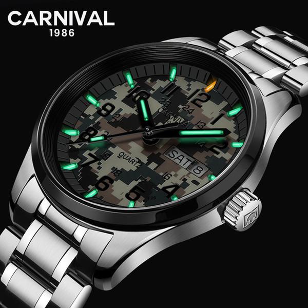 Carnaval Relógio de Quartzo Homens T25 Trítio Luminescência Militar Tático de Safira de Aço Inoxidável Relógio de Camuflagem