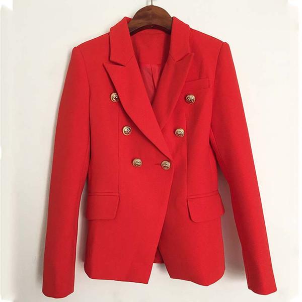 Damen Designer Metallknöpfe Kleidung 1 Frauen Jacken Mantel Rote Neue Runway Großhandel Von 2018 Herbst Jacke Cupidcloth66 Winter Zweireiher qUSMpzV