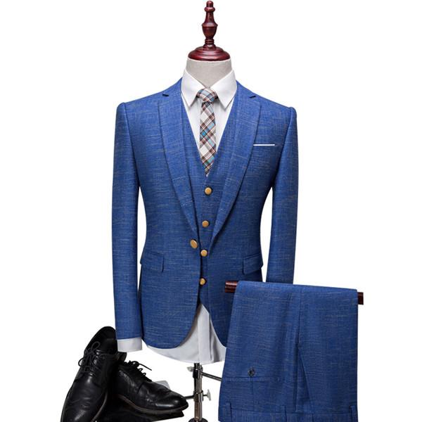 (Jacket+Pants+Vest) 2018 New Style Men Suits Fashion One Button Striped Men's Slim Fit Business Men Wedding suit Groomsmen Suits