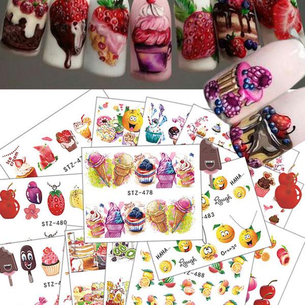 New Fashion Women 18 Sheets/Set Cake Ice Cream Nail Sticker Colorful Fruit Women Girls Nail Decal Wrap Manicure Decor