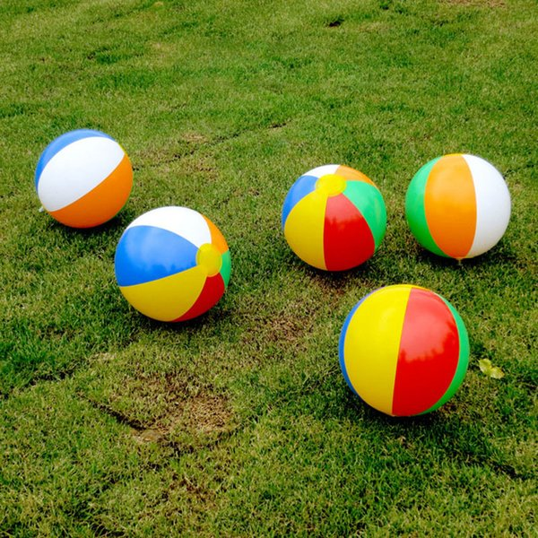 Beach Ball New Inflatable 6 colors Striped Rainbow Beach Ball Outdoor beach Ball Water Sports Balloon For Children 23cm C4450