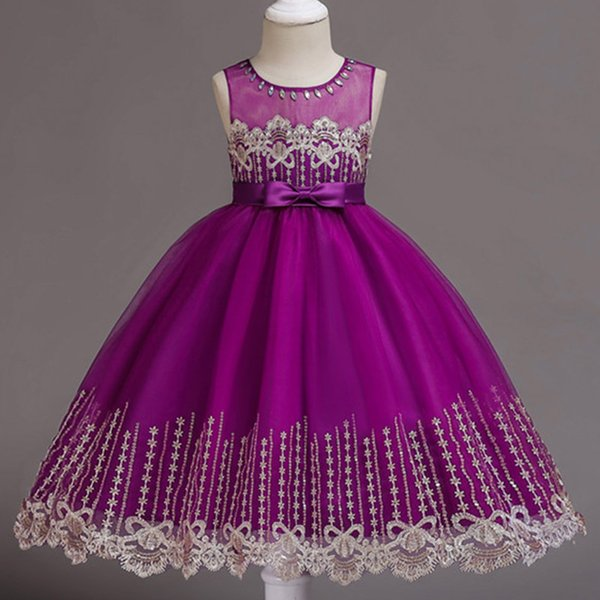 Arabic Floral Lace Flower Girl Dresses Ball Gowns Child Pageant Dresses Appliques Beautiful Little Kids Flower Girl Dress Formal 2018
