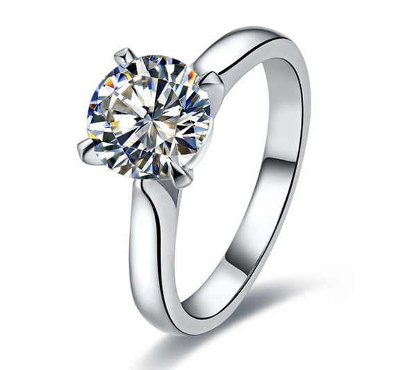 Classic 1CT Solitaire Wedding Rings for Women 925 Sterling Silver Synthetic Diamond Ring 18K White Gold Plated Simulated Gemstone Jewelry