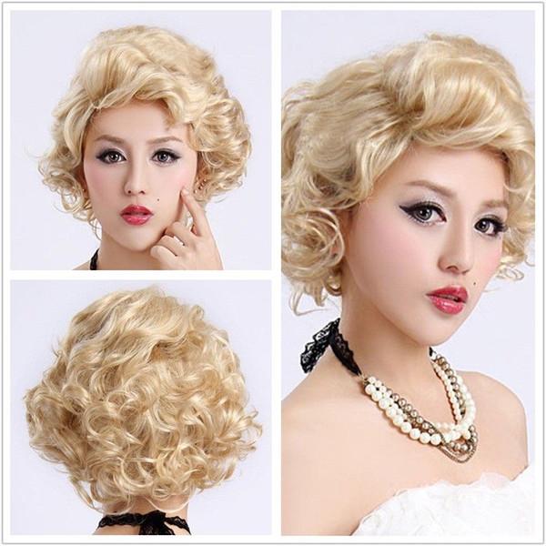 Halloween Short Blond Spiral Curly Wig Marilyn Monroe Cosplay Hair Wig Blonde