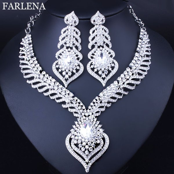 whole saleFashion Peacock tail feathers shaped Necklace and Earrings for Women Elegant White Crystal Rhinestones Bridal Jewelry sets
