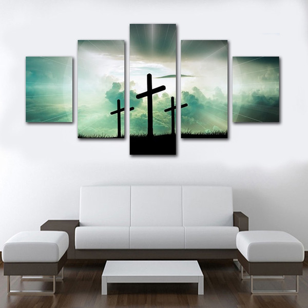 Unframed 5 Panels Green Background Religion Cross Canvas Painting Hot Fashion Wall Art Poster for Living Room Home Decoration