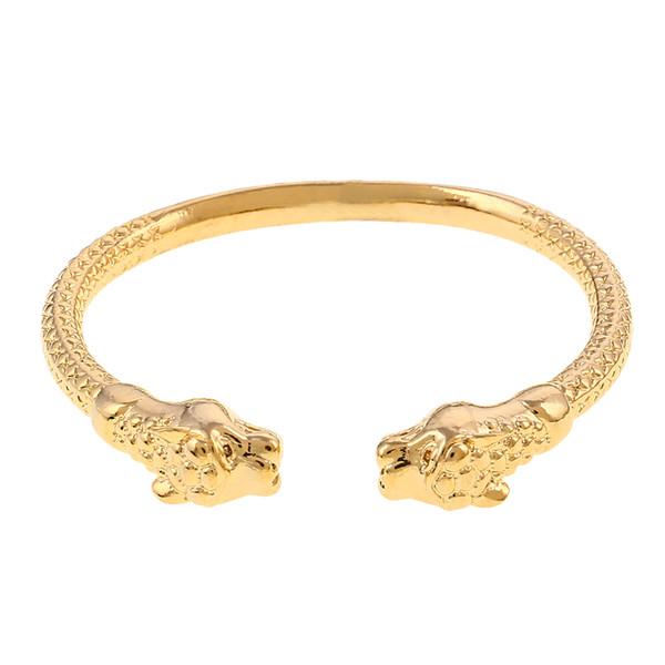 Gold Color Leopard Head Men Bracelet Open Embossing Gold Bracelets Bangles Fashion Men Gift