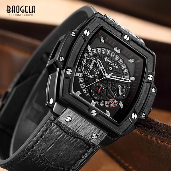 Baogela Mens Chronograph Luminous Hands Calendar Date Quartz Wrist Watches Black Leather Strap Rectangle Dial Watch for Man