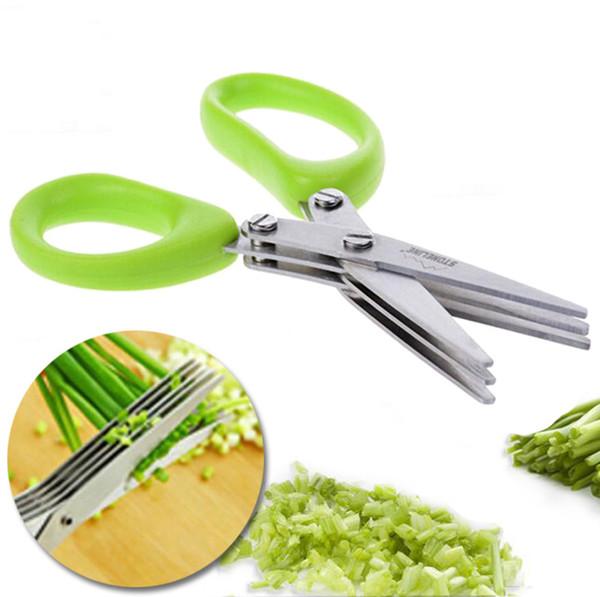 Tijeras multifuncionales de acero inoxidable para cuchillos de cocina Tijeras de sushi de 5 capas Tiras de cebolleta triturada Especias