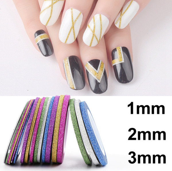 6 rollos / lot Colores Mezclados glitter bling Rollos Línea de cinta adhesiva Nail Art Tips Decoración Sticker belleza Decoración Pegatinas