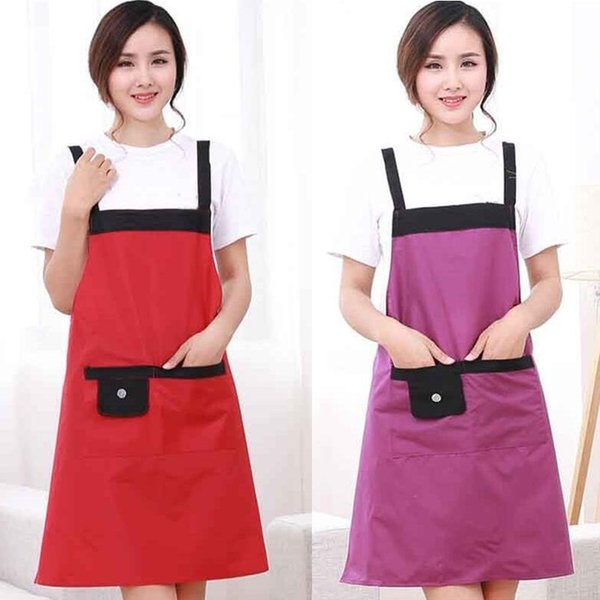 1Pcs Solid Color Waterproof Apron Woman Adult Bibs Home Cooking Baking Coffee Shop Cleaning Aprons Kitchen Accessories 46013