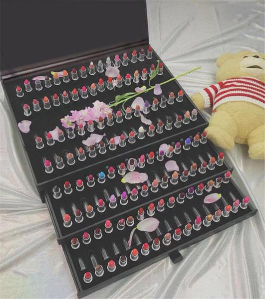 VEJA! Super presente de Natal caixa de Batom Charme estilo preto kits de brilho labial namorada surpresa 128 pcs conjuntos
