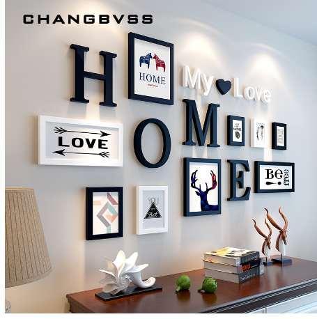 European Stype Home Design Wedding Love Marco de fotos Decoración de pared Marco de madera Set Marco de fotos de pared, Blanco Negro