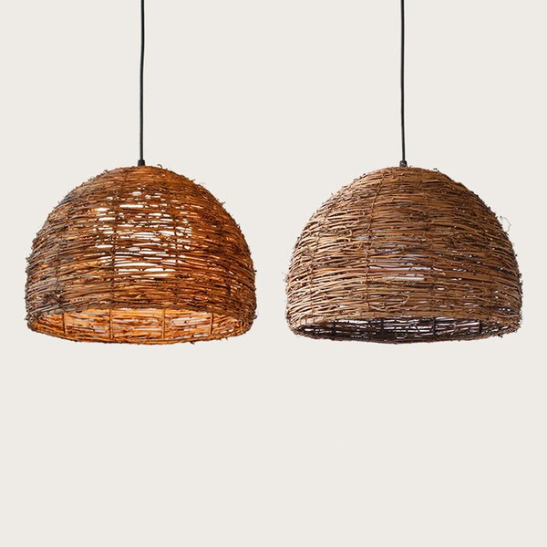 Brown Handmade Bamboo Pendant lamp Wood knitted pendant light For Hotel dinning Room Study Hemp Ball Vintage Susoension G006