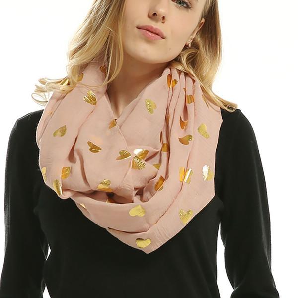 2018 Winter Scarf Women Cotton Scarves Soft Bronzing Heart-shaped Print Neck Scarf Wrap Scarves Muffler 70*180cm