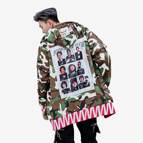 Windbreaker Hip Hop Trench Mit Kapuze Männer Punk Rave Lange Trenchcoat Männlich Streetwear Camo Sweatshirt Jacke Lange Mann Lose Junge F88