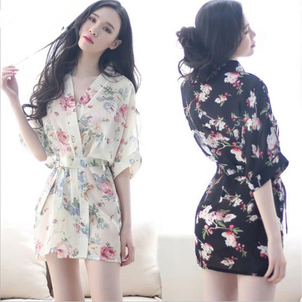 sexy sleepwear female kimono nightdress csual dresses floral print pespective slip black white summer autumn winter homewear