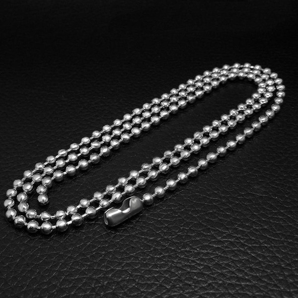 2.4mm Stainless Steel Ball Chain Bead Necklace Bradde 20'' inch Length 50cm for DIY Bracelet Necklace Jewelry Finding Making Chains