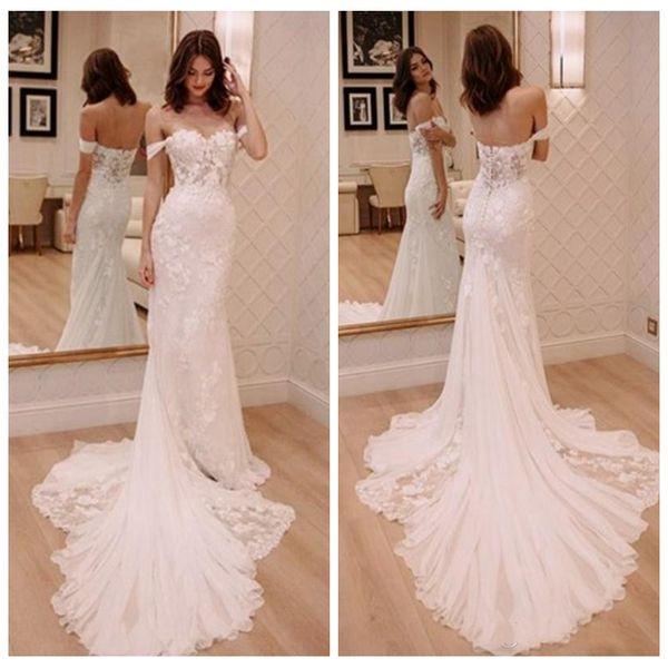 2018 Soft Beautiful Lace Mermaid Wedding Dresses Modern Off Shoulder Sleeveless Lace Appliques Sweep Train Custom Slim Garden Bridal Gowns