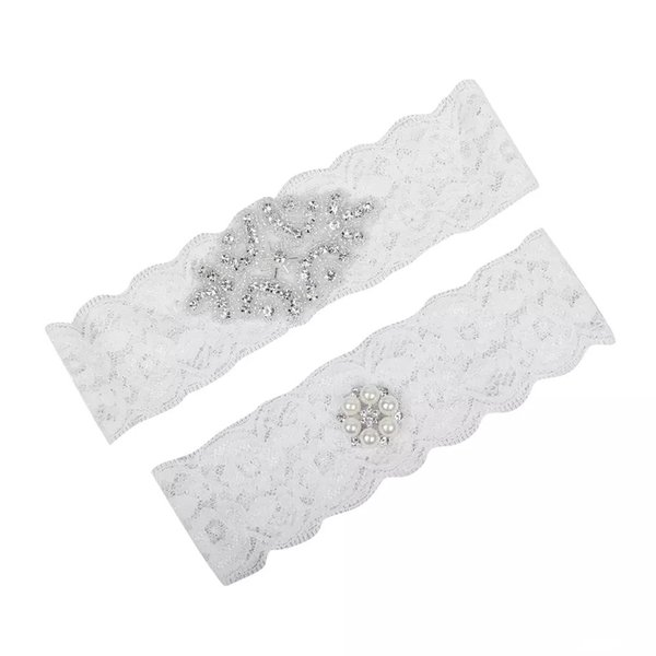 Cheap Wedding Leg Garters Plus Size Lace Bridal Garters Crystals Pearls Lace Wedding Garters for Bride Belt Free Shipping Real Picture