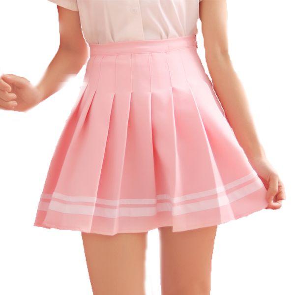 Style de Preppy rayé Uniformes scolaires de Lolita Saia Jupe plissée Faldas Femmes Mini Harajuku mignon Mesdames Jupe Kawaii Jupes