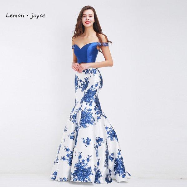 Lemon joyce Formal Evening Dresses 2018 Elegant Boat Neck Sexy Two Piece Mermaid Floor-Length Long Prom Party Gowns Plus Size
