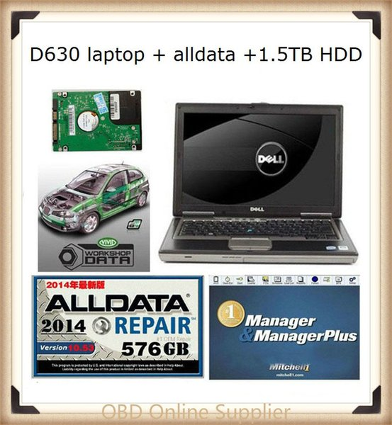 2018 alldata repair software 2014 V10.53 all data and mitchell on demand auto software+1.5tb HDD+d630 laptop diagnostic tools