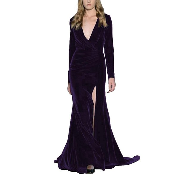Women's Velvet Evening Gown Plunging Neckline Prom Dress mermaid dress Long Sleeve Party Gown robe de soiree evening dresses long