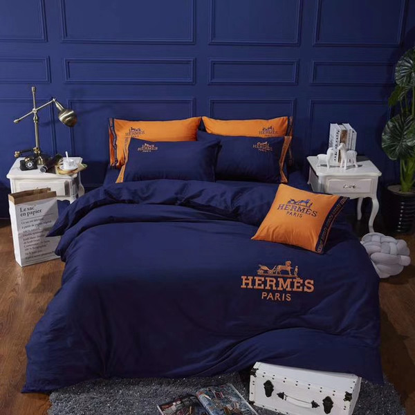 Navy Blue Embroidery Bed Cover Suit Luxury Design Europe And America Bedding Cover Cotton Boutique Fashion Duvet Cover