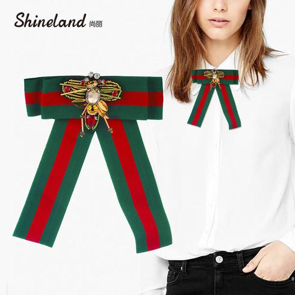 Shineland Trendy Animal Bee Bow Broches Para Las Mujeres Bowknot Clip Up Pins Collar Tie Ramillete Accesorios de Ropa Broche de joyería