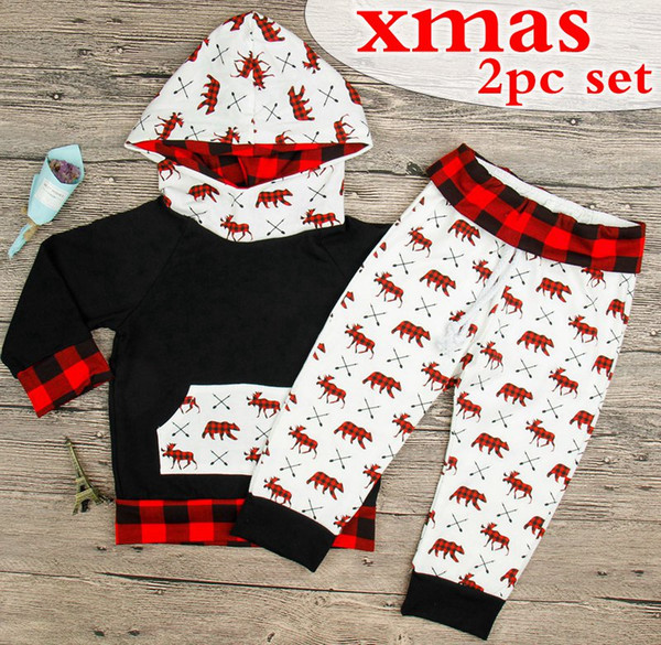 christmas outfits for baby girl Coupons - INS Toddler xmas Christmas 2pcs  set Baby Deer Bear bcefd3a97