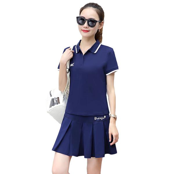 Compre Vestido De Tenis Para Mujer Ropa Es Polo Camiseta Manga Corta Por Encima De Las Rodillas Faldas De Dos Piezas De Tela De Bádminton Mujeres Del