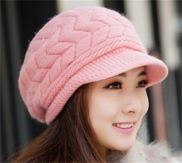 Lady Fashion Beanies Knitted Rabbit Fur Inside Wool Yarn Thickened Warm Autumn Winter Women Hat Solid Color Epacket Free
