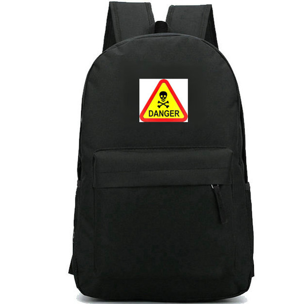 Danger backpack Warning symbol daypack Skull bone schoolbag Good badge rucksack Sport school bag Outdoor day pack
