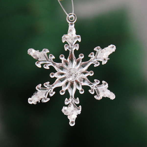 Christmas ornaments Acrylic Christmas Snowflake Ornaments Charm Xmas Tree Hanging Drop Decor Navidad Decoration for home Q4