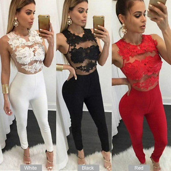 Sexy Fashion Women Sleeveless Bandage Bodycon Jumpsuit Lace Romper Trousers Evening Clubwear Red