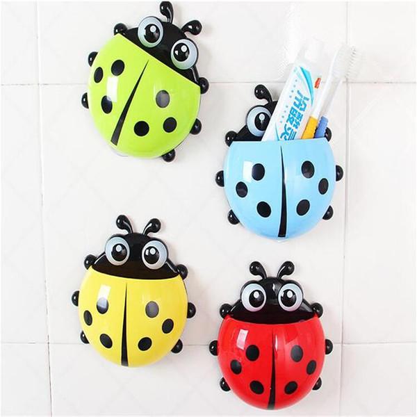 4 renkler Güzel Uğur Böceği Diş Fırçası Duvar Emme Banyo Setleri Karikatür Enayi Diş Fırçası Tutucu / Emme Kanca
