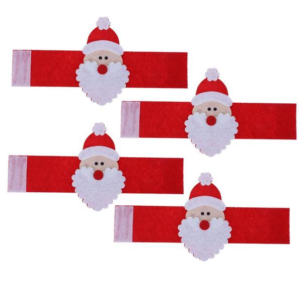 4pcs/set Christmas Santa Claus Napkin Rings Serviette Holder Table Napkin Holders Banquet Dinner Christmas Decoration for Home