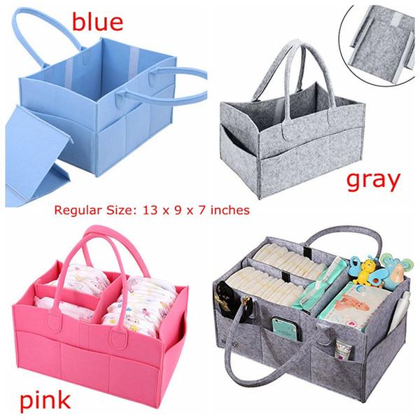 top popular INs Baby Diaper Caddy Gray Nursery Diaper Tote Bag Multifunction storage bag large portable car travel Organizer Gray Blue Felt Basket bag 2021
