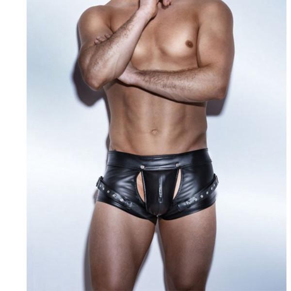Sexy Open Crotch Boxershorts Schwarz PVC Kunstleder Boxershorts Teddy Fetisch Kostüme PU Catsuit Männer Latex Kurze Hosen