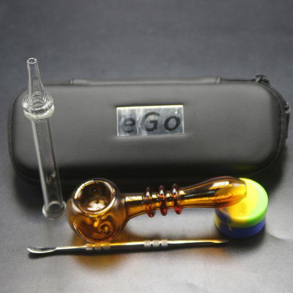 Neueste 4 PCS Bag Set Mini Bunte Schneeflocke Dab Rig Trockenen Herb Tobacco Ölplattformen Hand Rohre für Rauchen